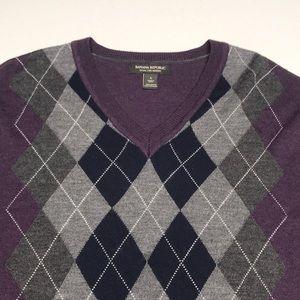 BANANA REPUBLIC Men's Purple Argyle Wool Sweater